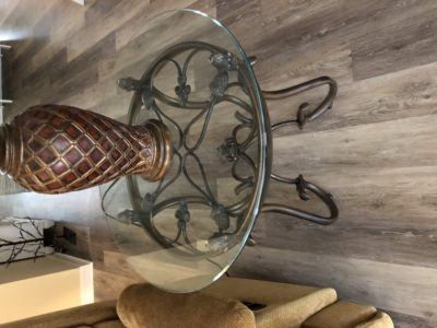 Glass and iron end tables The Villages Florida