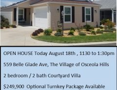 OPEN HOUSE TODAY  11:30 to 1:30 The Villages Florida